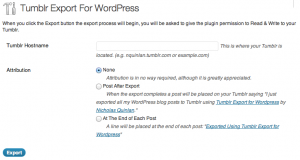 Tumblr export import into wordpress