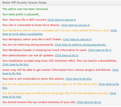 WordPress Security Status