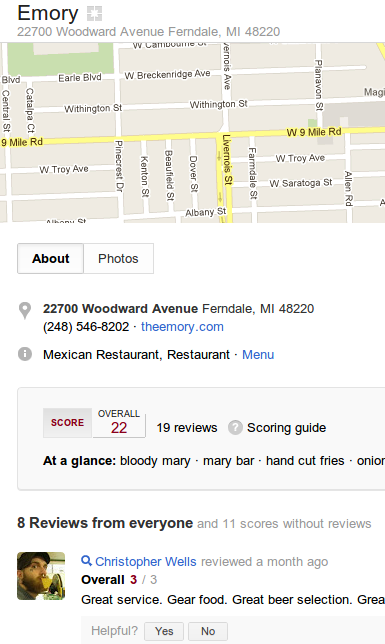 Google Plus Local Business Result example