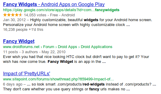 search for fancy red widgets