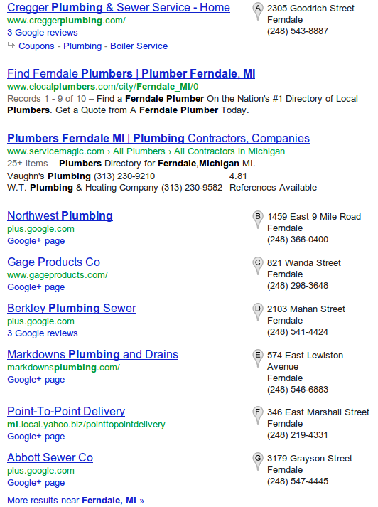 Google search with local results