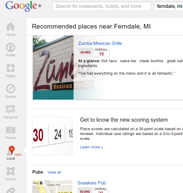 Google+ Local home example