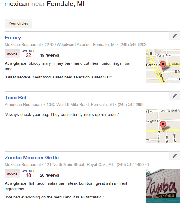 Google Local Plus search example